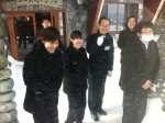 The hotel staff braving the cold to wave goodbye